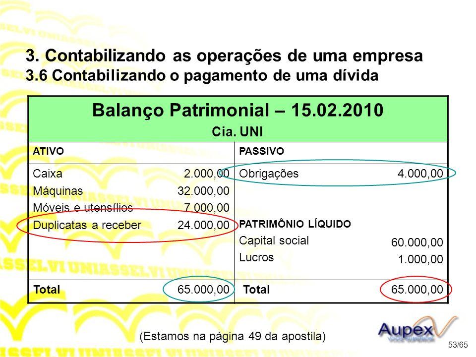 (Estamos na página 49 da apostila) 53/65 Balanço Patrimonial – 15.02.2010 Cia.