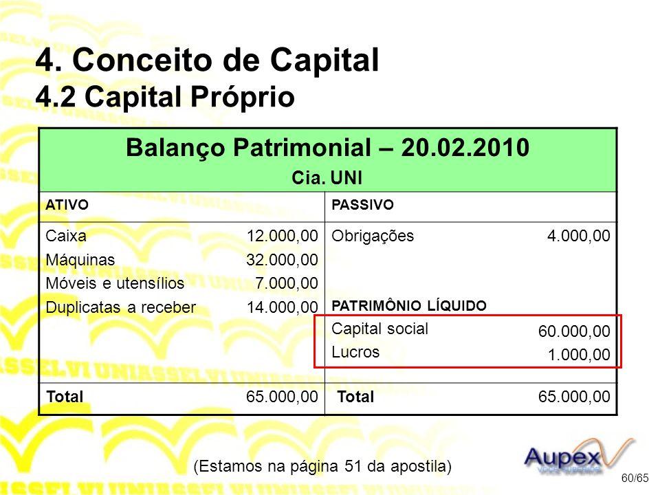 (Estamos na página 51 da apostila) 60/65 Balanço Patrimonial – 20.02.2010 Cia.