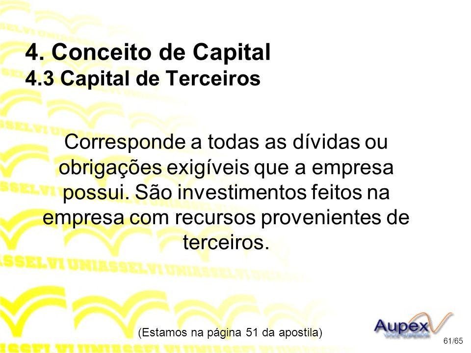 4. Conceito de Capital 4.3 Capital de Terceiros Corresponde a todas as dívidas ou obrigações exigíveis que a empresa possui. São investimentos feitos