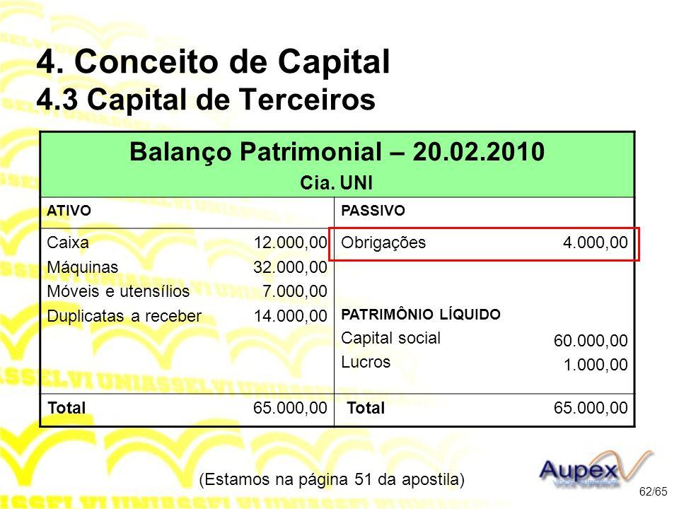 (Estamos na página 51 da apostila) 62/65 Balanço Patrimonial – 20.02.2010 Cia.