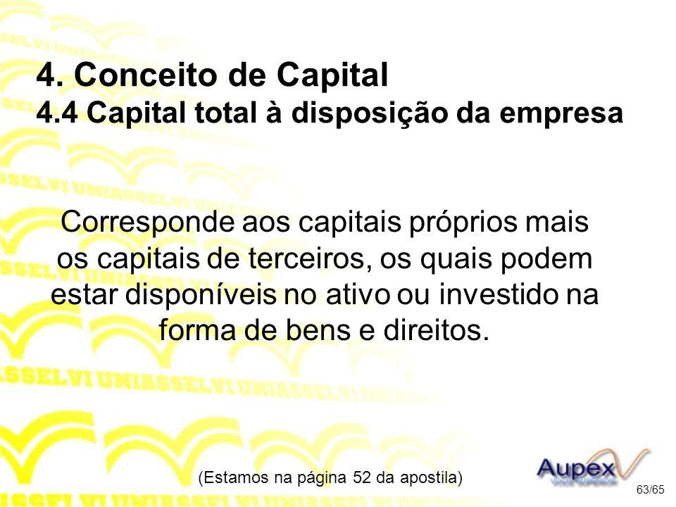 4. Conceito de Capital 4.4 Capital total à disposição da empresa Corresponde aos capitais próprios mais os capitais de terceiros, os quais podem estar