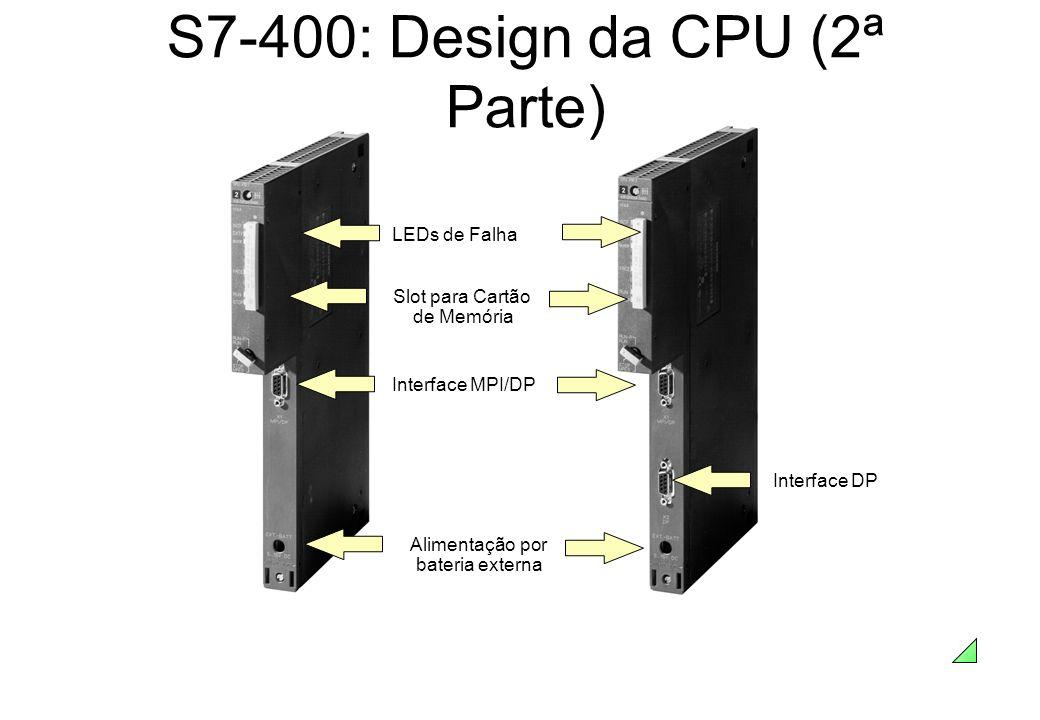 S7-400: Design da CPU (2ª Parte) Slot para Cartão de Memória Interface MPI/DPAlimentação por bateria externa Interface DP LEDs de Falha