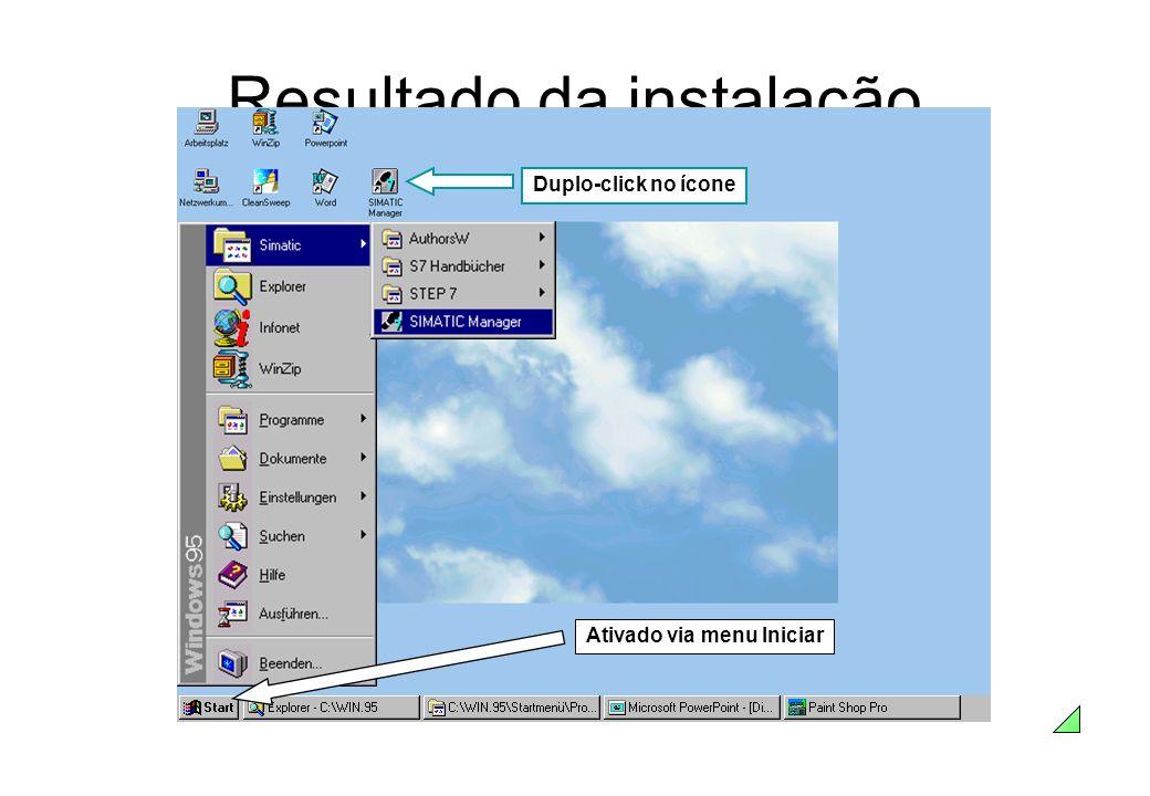Resultado da instalação Duplo-click no ícone Ativado via menu Iniciar