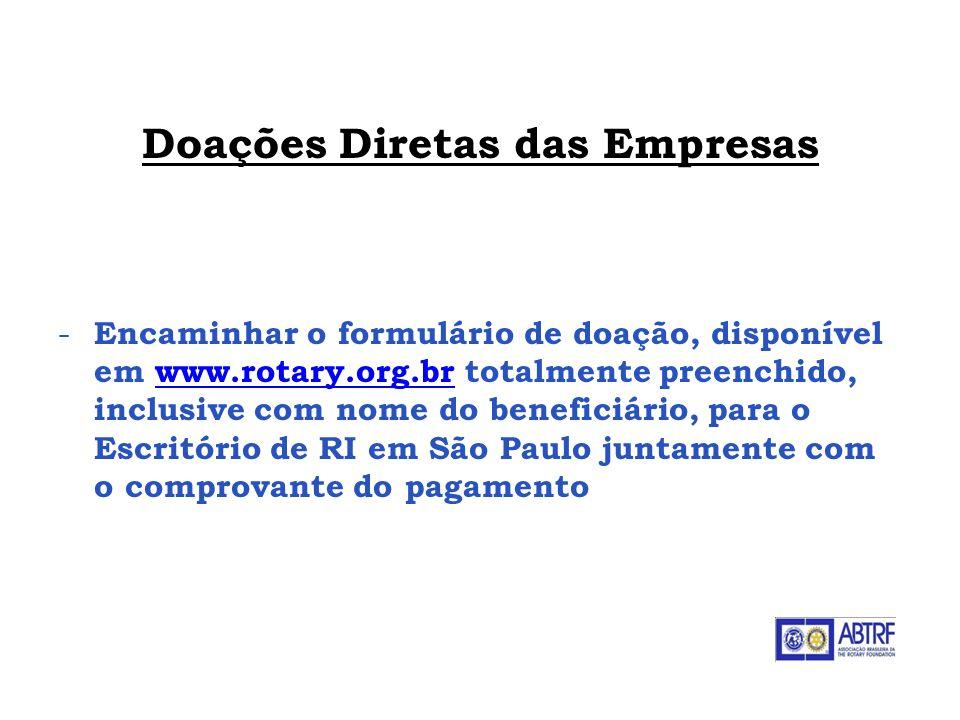 Doações Diretas das Empresas - Encaminhar o formulário de doação, disponível em www.rotary.org.br totalmente preenchido, inclusive com nome do benefic