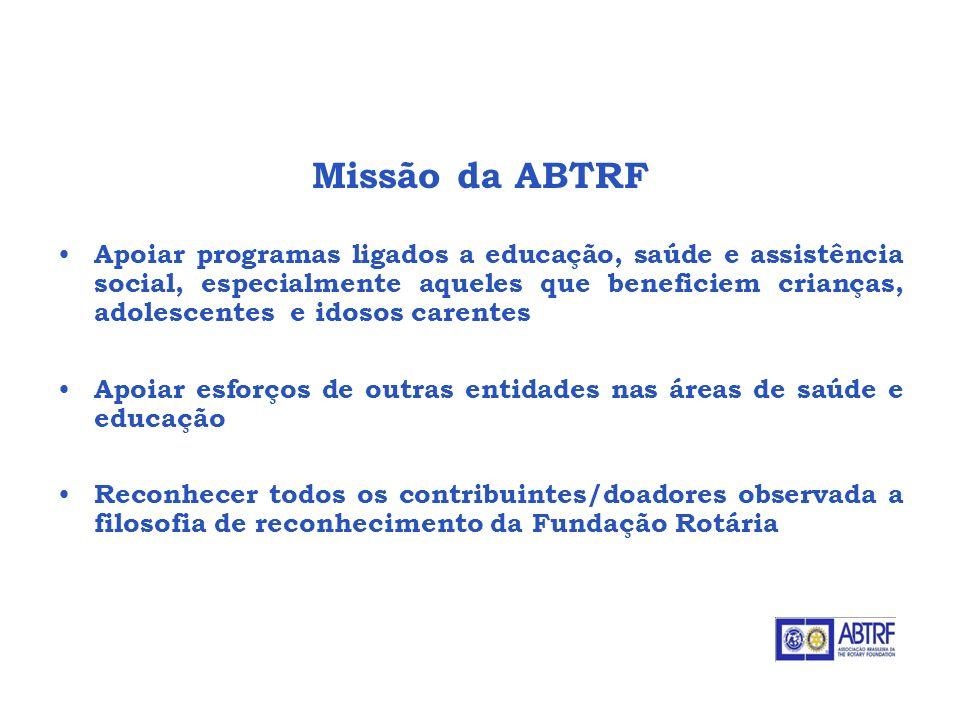 Missão da ABTRF Apoiar programas ligados a educação, saúde e assistência social, especialmente aqueles que beneficiem crianças, adolescentes e idosos