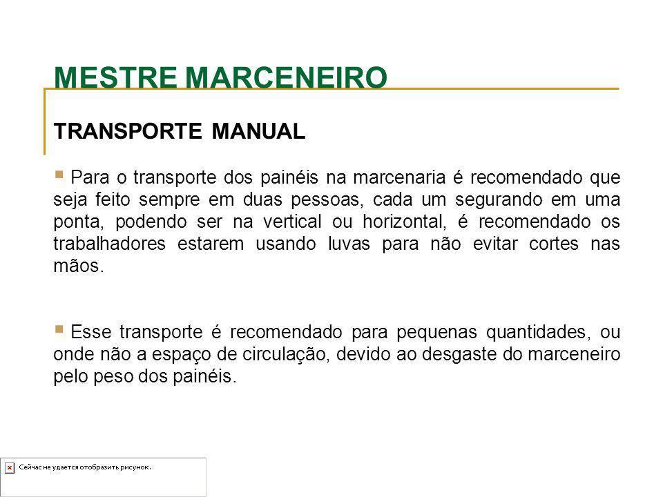 MESTRE MARCENEIRO TRANSPORTE MANUAL Para o transporte dos painéis na marcenaria é recomendado que seja feito sempre em duas pessoas, cada um segurando