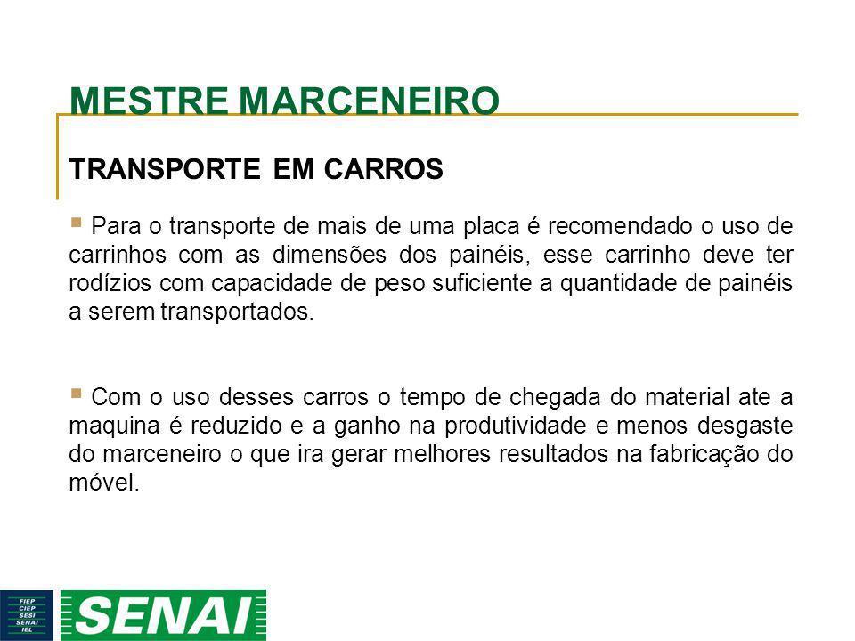 MESTRE MARCENEIRO TRANSPORTE EM CARROS Para o transporte de mais de uma placa é recomendado o uso de carrinhos com as dimensões dos painéis, esse carr