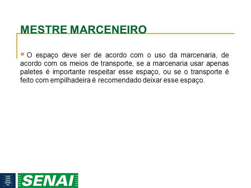 MESTRE MARCENEIRO O espaço deve ser de acordo com o uso da marcenaria, de acordo com os meios de transporte, se a marcenaria usar apenas paletes é imp