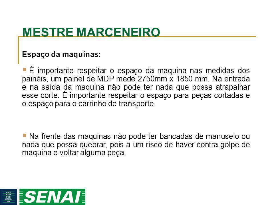 MESTRE MARCENEIRO Espaço da maquinas: É importante respeitar o espaço da maquina nas medidas dos painéis, um painel de MDP mede 2750mm x 1850 mm. Na e
