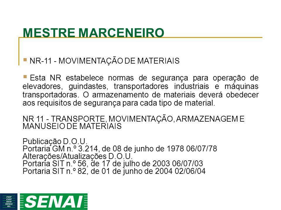 MESTRE MARCENEIRO NR-11 - MOVIMENTAÇÃO DE MATERIAIS Esta NR estabelece normas de segurança para operação de elevadores, guindastes, transportadores in