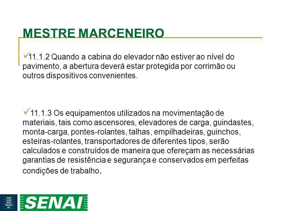 MESTRE MARCENEIRO 11.1.2 Quando a cabina do elevador não estiver ao nível do pavimento, a abertura deverá estar protegida por corrimão ou outros dispo