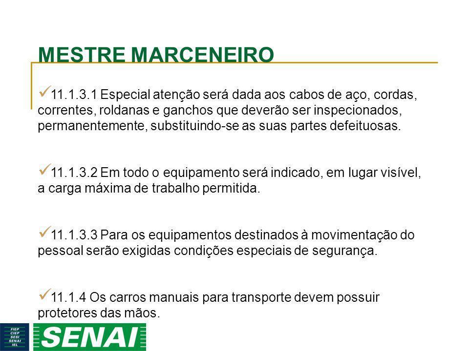 MESTRE MARCENEIRO 11.1.3.1 Especial atenção será dada aos cabos de aço, cordas, correntes, roldanas e ganchos que deverão ser inspecionados, permanent
