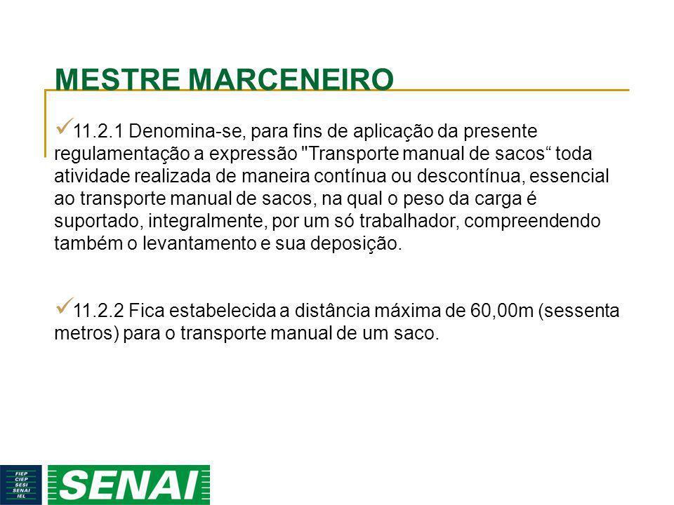 MESTRE MARCENEIRO 11.2.1 Denomina-se, para fins de aplicação da presente regulamentação a expressão