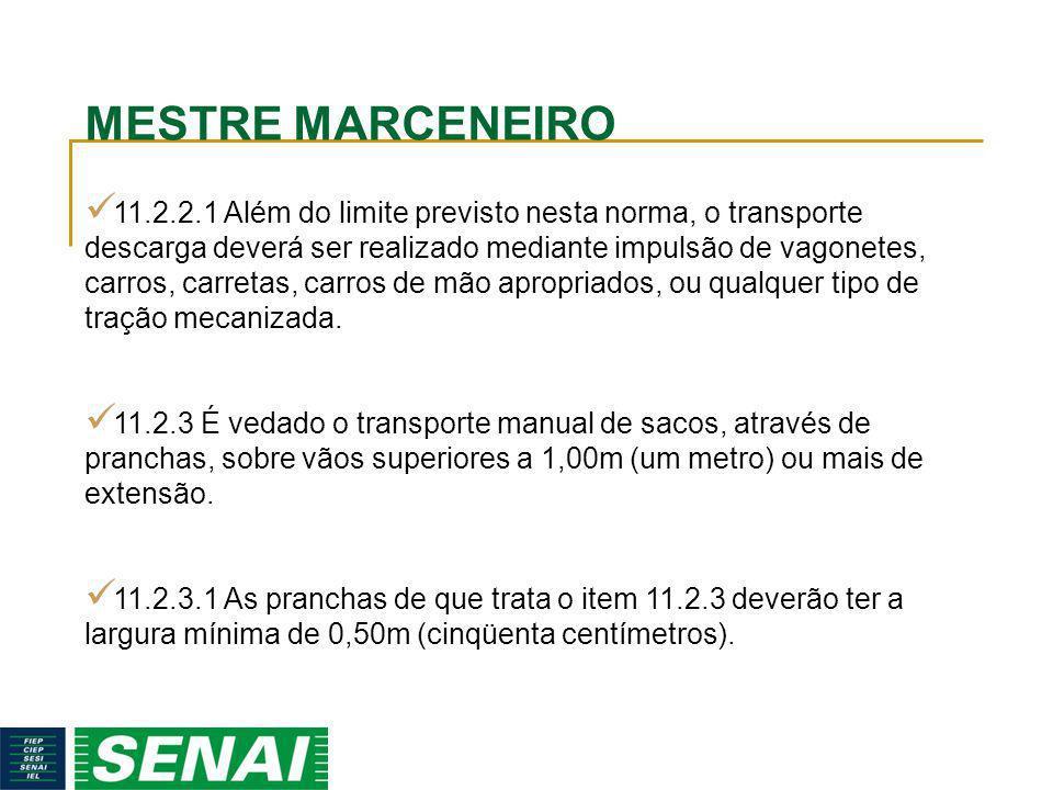 MESTRE MARCENEIRO 11.2.2.1 Além do limite previsto nesta norma, o transporte descarga deverá ser realizado mediante impulsão de vagonetes, carros, car