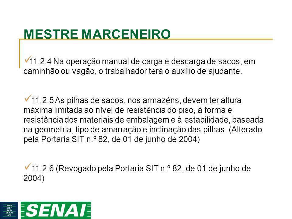 MESTRE MARCENEIRO 11.2.4 Na operação manual de carga e descarga de sacos, em caminhão ou vagão, o trabalhador terá o auxílio de ajudante. 11.2.5 As pi