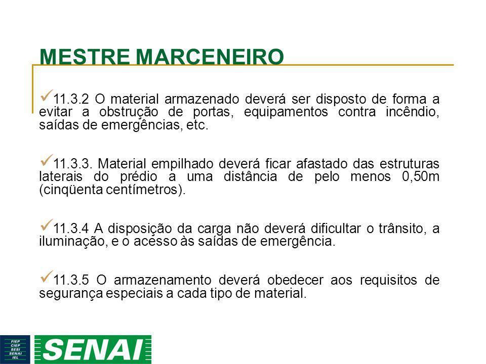 MESTRE MARCENEIRO 11.3.2 O material armazenado deverá ser disposto de forma a evitar a obstrução de portas, equipamentos contra incêndio, saídas de em