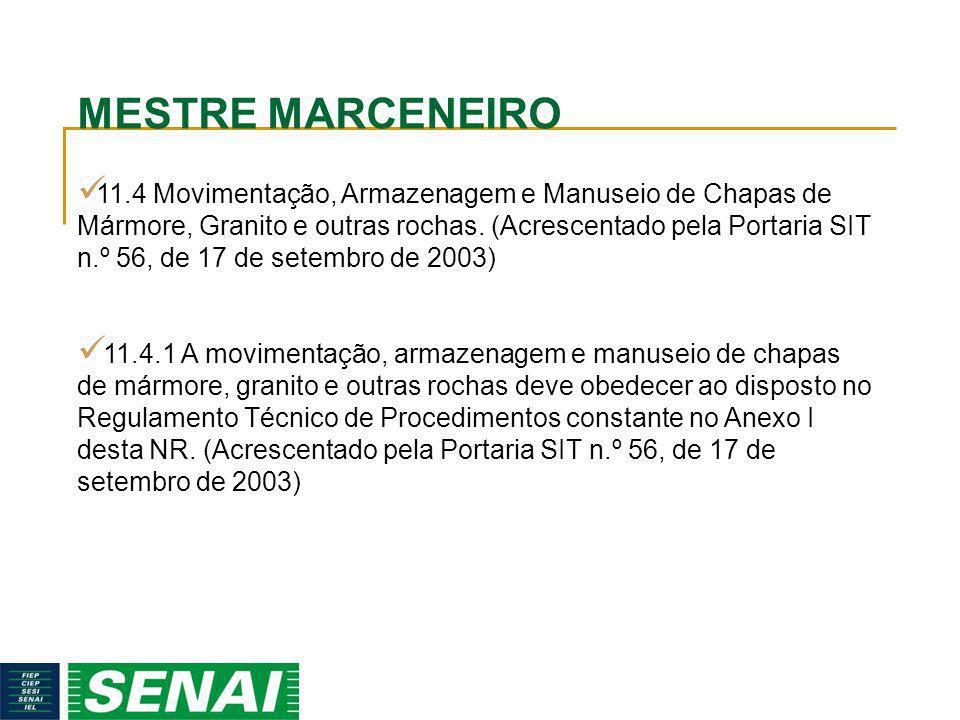 MESTRE MARCENEIRO 11.4 Movimentação, Armazenagem e Manuseio de Chapas de Mármore, Granito e outras rochas. (Acrescentado pela Portaria SIT n.º 56, de