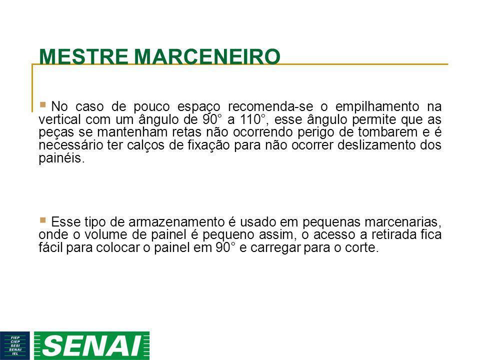 MESTRE MARCENEIRO No caso de pouco espaço recomenda-se o empilhamento na vertical com um ângulo de 90° a 110°, esse ângulo permite que as peças se man