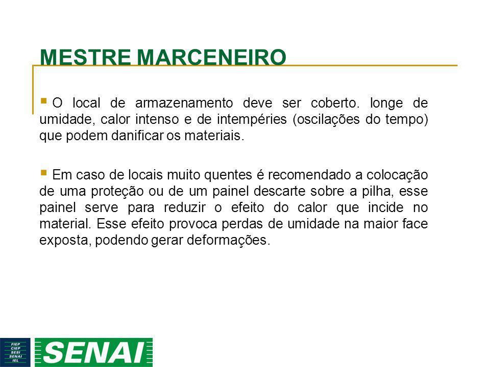 MESTRE MARCENEIRO O local de armazenamento deve ser coberto. longe de umidade, calor intenso e de intempéries (oscilações do tempo) que podem danifica