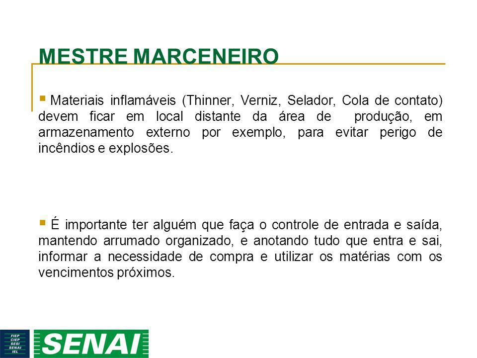 MESTRE MARCENEIRO Materiais inflamáveis (Thinner, Verniz, Selador, Cola de contato) devem ficar em local distante da área de produção, em armazenament