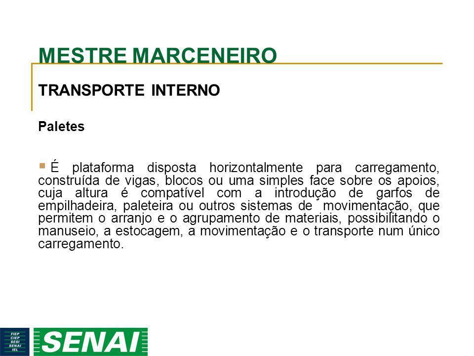 MESTRE MARCENEIRO TRANSPORTE INTERNO Paletes É plataforma disposta horizontalmente para carregamento, construída de vigas, blocos ou uma simples face