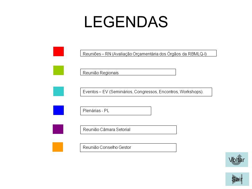 LEGENDAS Plenárias - PL Eventos – EV (Seminários, Congressos, Encontros, Workshops). Reuniões – RN (Avaliação Orçamentária dos Órgãos da RBMLQ-I) Reun