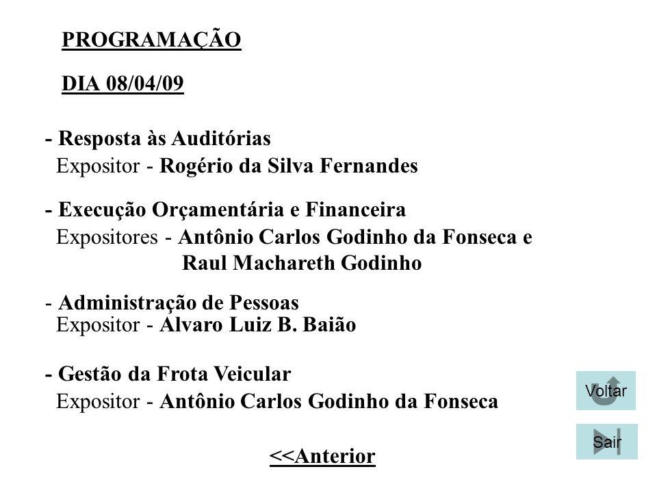 PROGRAMAÇÃO - Resposta às Auditórias Expositor - Rogério da Silva Fernandes - Gestão da Frota Veicular Expositores - Antônio Carlos Godinho da Fonseca
