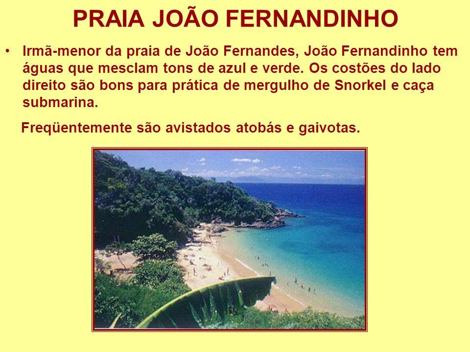 PRAIA JOÃO FERNANDINHO Irmã-menor da praia de João Fernandes, João Fernandinho tem águas que mesclam tons de azul e verde. Os costões do lado direito