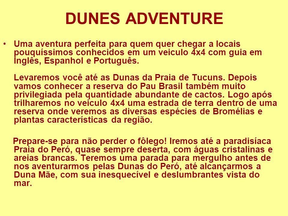 DUNES ADVENTURE Uma aventura perfeita para quem quer chegar a locais pouquíssimos conhecidos em um veiculo 4x4 com guia em Inglês, Espanhol e Portuguê