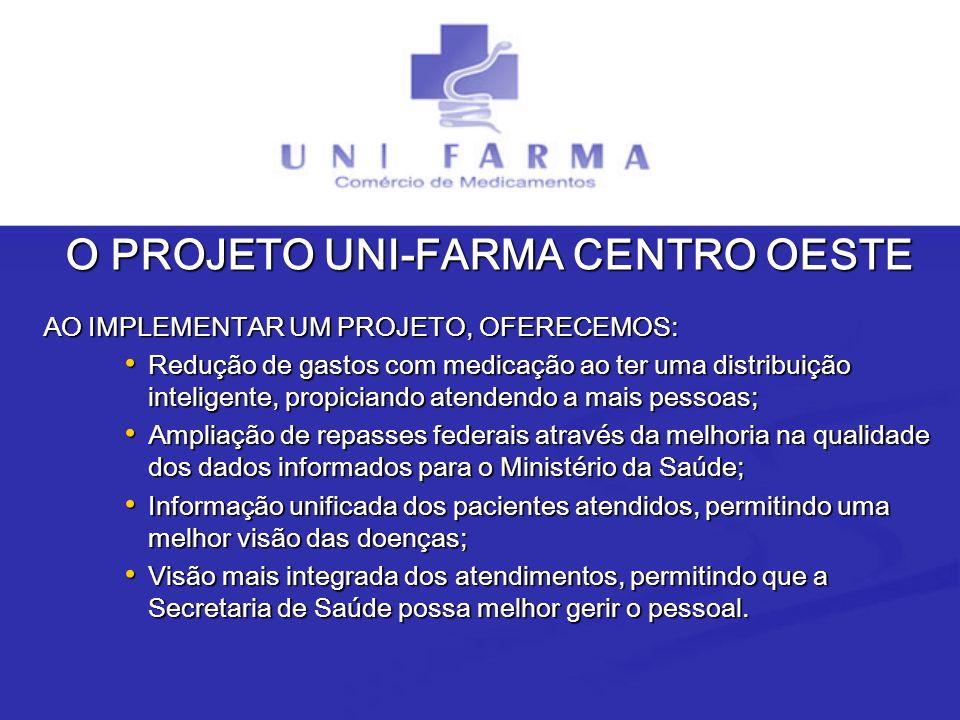 O PROJETO UNI-FARMA CENTRO OESTE AO IMPLEMENTAR UM PROJETO, OFERECEMOS: AO IMPLEMENTAR UM PROJETO, OFERECEMOS: Redução de gastos com medicação ao ter