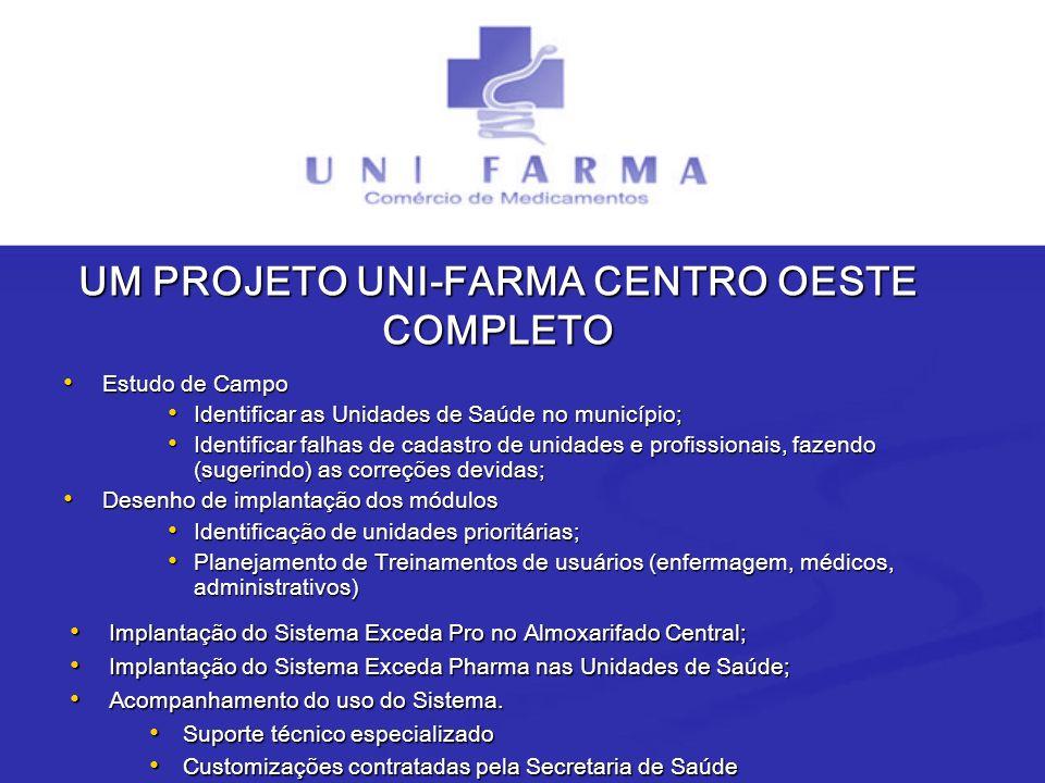 UM PROJETO UNI-FARMA CENTRO OESTE COMPLETO Estudo de Campo Estudo de Campo Identificar as Unidades de Saúde no município; Identificar as Unidades de S