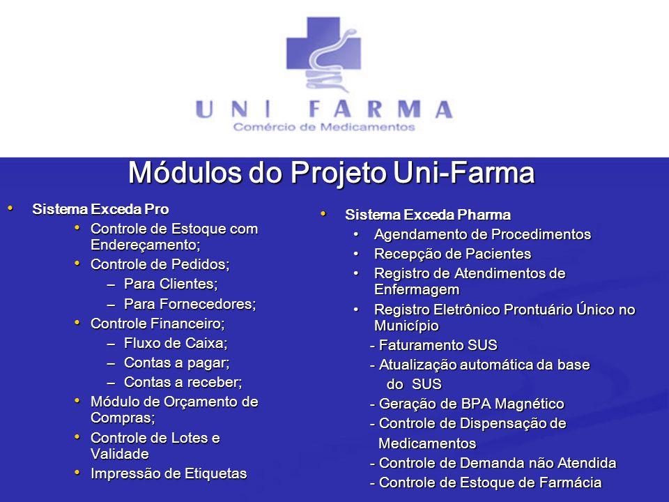 Módulos do Projeto Uni-Farma Sistema Exceda Pro Sistema Exceda Pro Controle de Estoque com Endereçamento; Controle de Estoque com Endereçamento; Contr