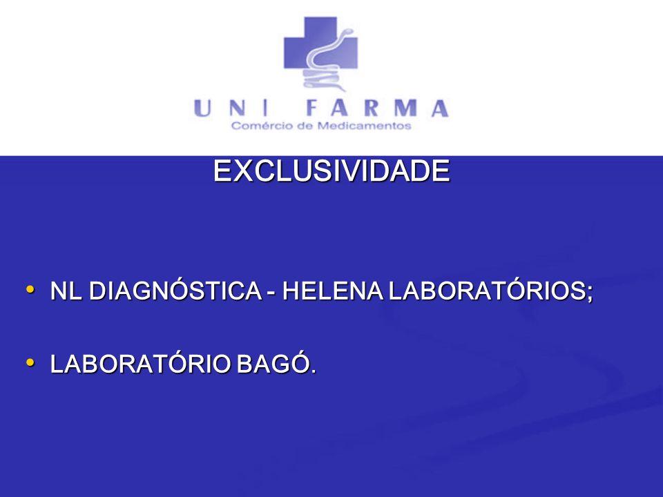 EXCLUSIVIDADE NL DIAGNÓSTICA - HELENA LABORATÓRIOS; NL DIAGNÓSTICA - HELENA LABORATÓRIOS; LABORATÓRIO BAGÓ. LABORATÓRIO BAGÓ.