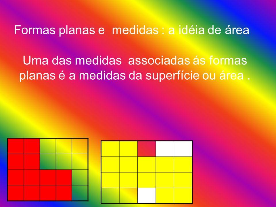 Formas planas e medidas : a idéia de área Uma das medidas associadas ás formas planas é a medidas da superfície ou área.