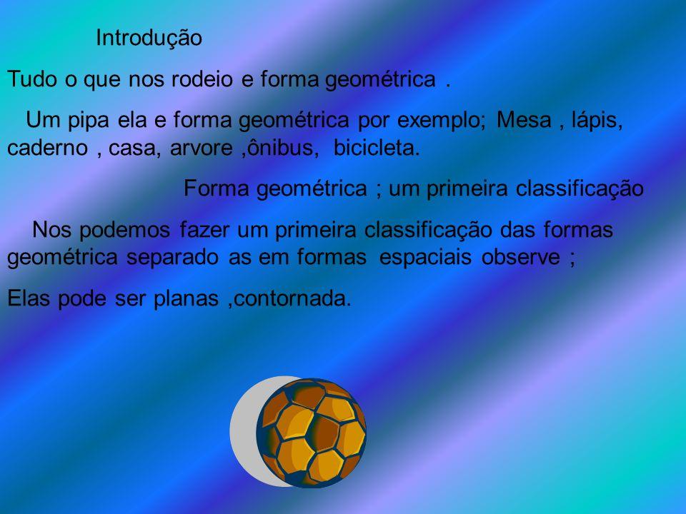 Introdução Tudo o que nos rodeio e forma geométrica. Um pipa ela e forma geométrica por exemplo; Mesa, lápis, caderno, casa, arvore,ônibus, bicicleta.