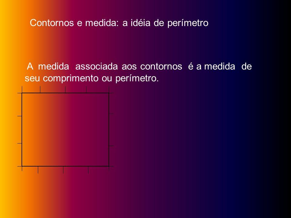 Contornos e medida: a idéia de perímetro A medida associada aos contornos é a medida de seu comprimento ou perímetro.