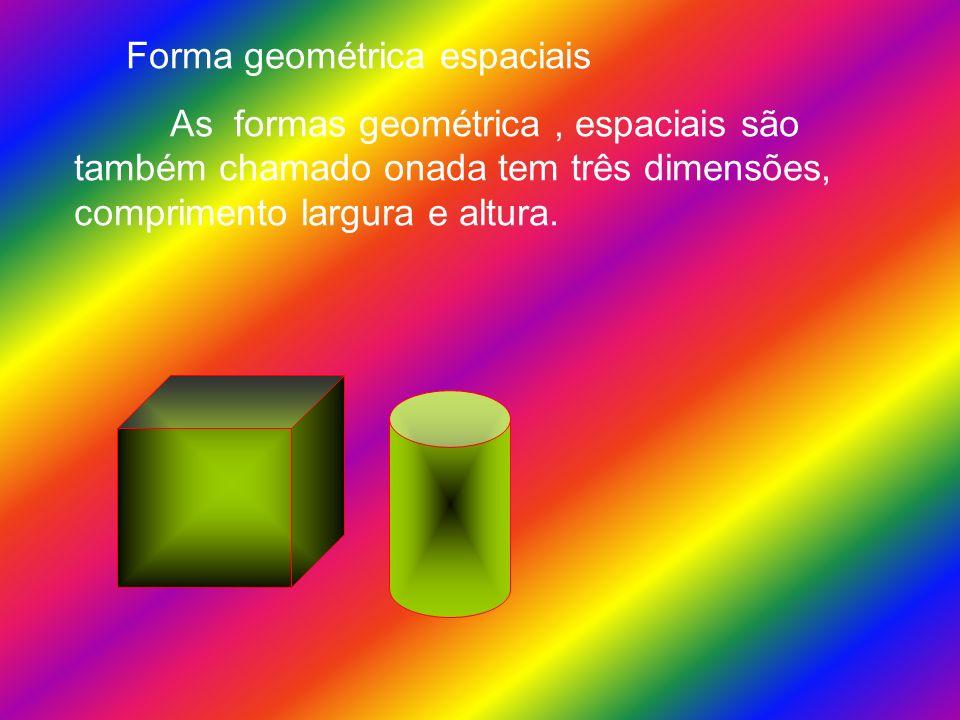 Forma geométrica espaciais As formas geométrica, espaciais são também chamado onada tem três dimensões, comprimento largura e altura.