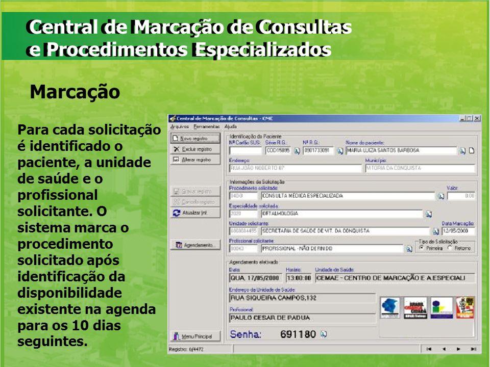 Central de Marcação de Consultas e Procedimentos Especializados Para cada solicitação é identificado o paciente, a unidade de saúde e o profissional s