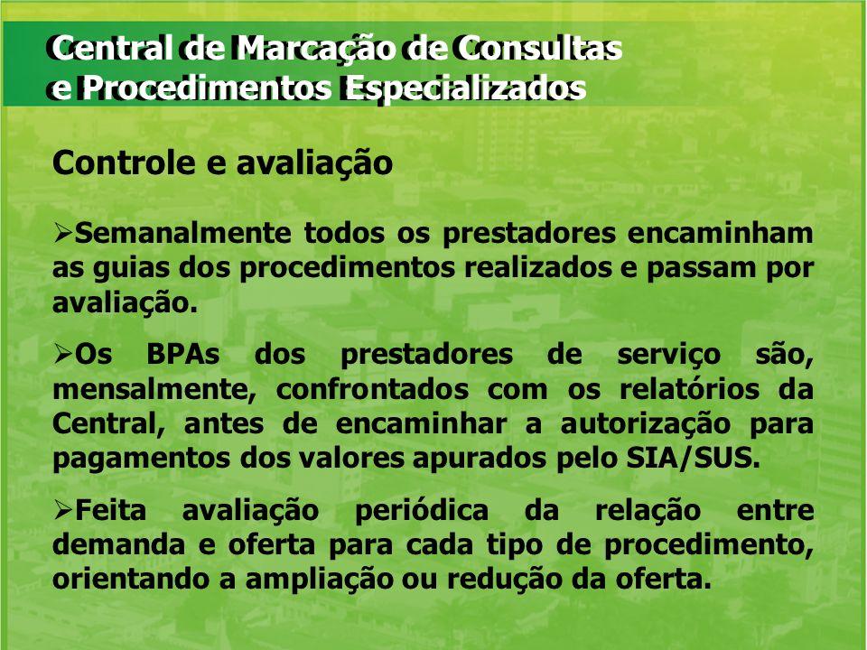 Central de Marcação de Consultas e Procedimentos Especializados Semanalmente todos os prestadores encaminham as guias dos procedimentos realizados e p