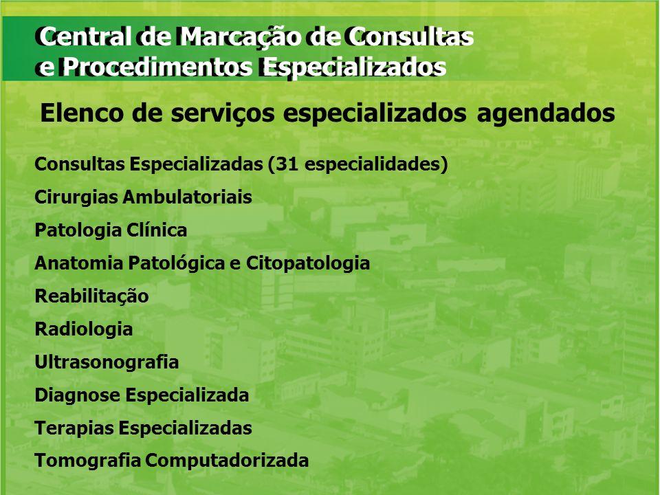 Central de Marcação de Consultas e Procedimentos Especializados Consultas Especializadas (31 especialidades) Cirurgias Ambulatoriais Patologia Clínica