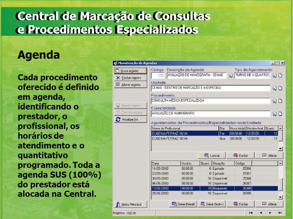 Central de Marcação de Consultas e Procedimentos Especializados Cada procedimento oferecido é definido em agenda, identificando o prestador, o profiss