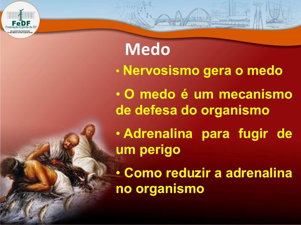 Medo Nervosismo gera o medo O medo é um mecanismo de defesa do organismo Adrenalina para fugir de um perigo Como reduzir a adrenalina no organismo