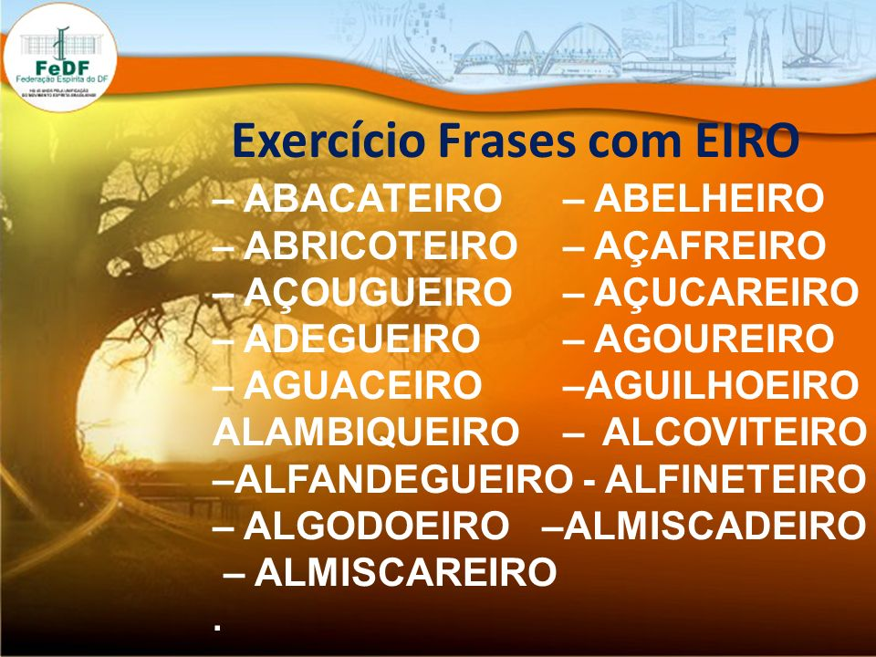 Exercício Frases com EIRO – ABACATEIRO – ABELHEIRO – ABRICOTEIRO – AÇAFREIRO – AÇOUGUEIRO – AÇUCAREIRO – ADEGUEIRO – AGOUREIRO – AGUACEIRO –AGUILHOEIR