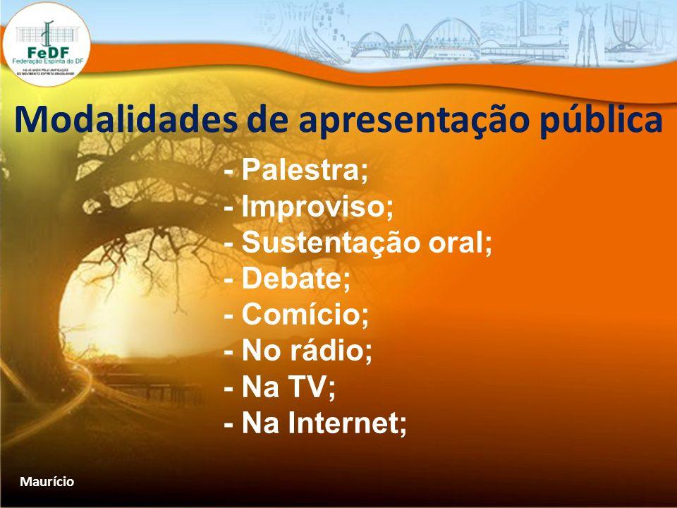 Modalidades de apresentação pública - Palestra; - Improviso; - Sustentação oral; - Debate; - Comício; - No rádio; - Na TV; - Na Internet; Maurício