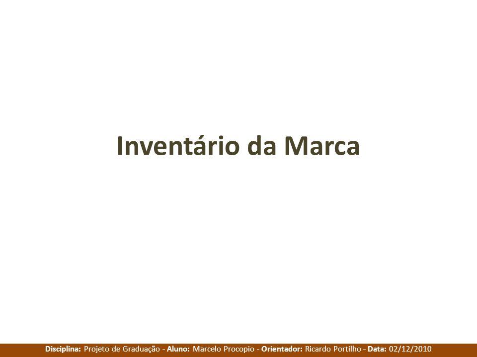 Disciplina: Projeto de Graduação - Aluno: Marcelo Procopio - Orientador: Ricardo Portilho - Data: 02/12/2010 Inventário da Marca