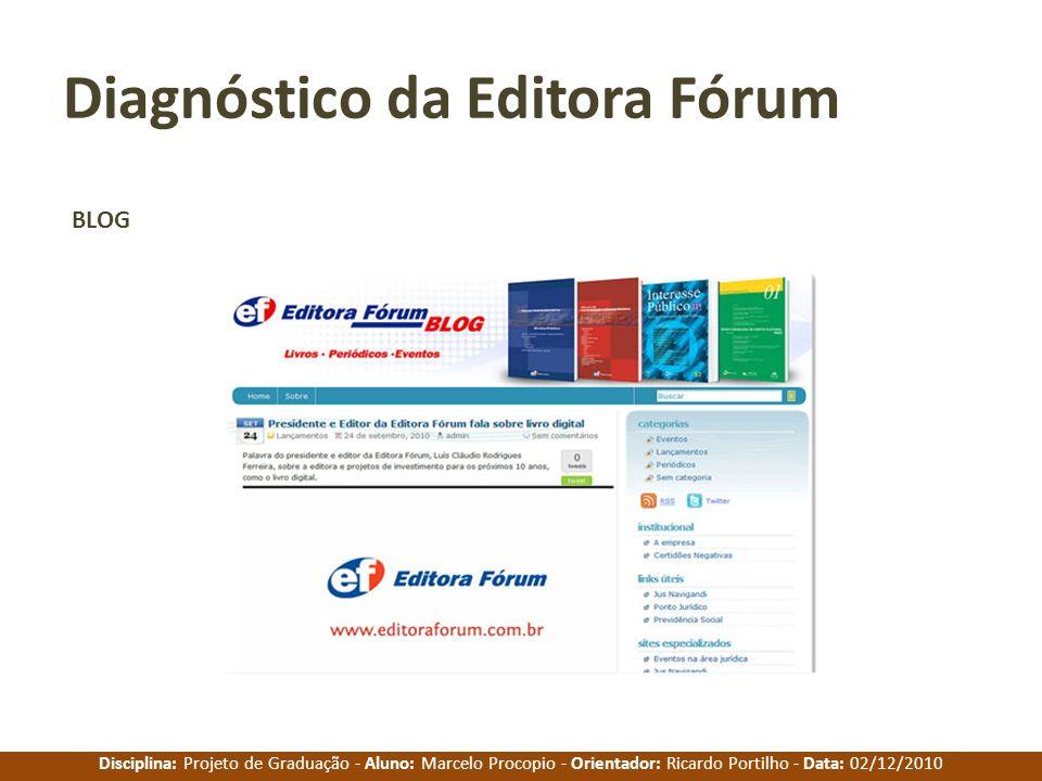 Disciplina: Projeto de Graduação - Aluno: Marcelo Procopio - Orientador: Ricardo Portilho - Data: 02/12/2010 Diagnóstico da Editora Fórum BLOG