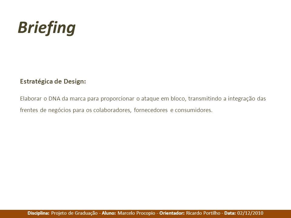 Disciplina: Projeto de Graduação - Aluno: Marcelo Procopio - Orientador: Ricardo Portilho - Data: 02/12/2010 Briefing Estratégica de Design: Elaborar