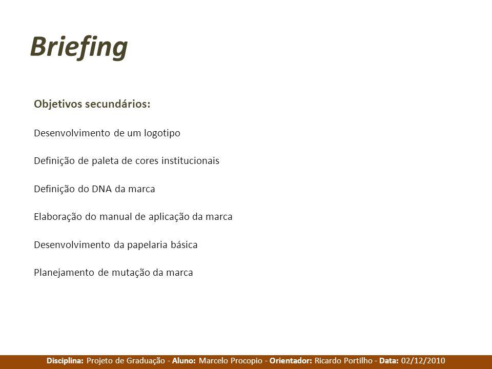 Disciplina: Projeto de Graduação - Aluno: Marcelo Procopio - Orientador: Ricardo Portilho - Data: 02/12/2010 Briefing Objetivos secundários: Desenvolv