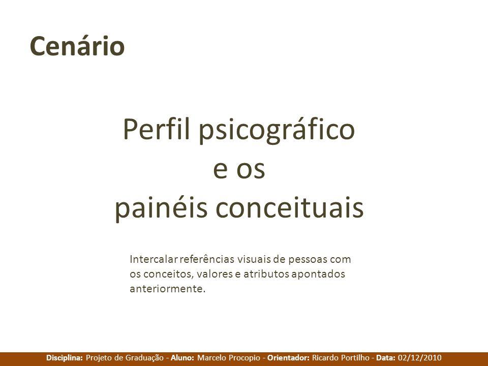 Disciplina: Projeto de Graduação - Aluno: Marcelo Procopio - Orientador: Ricardo Portilho - Data: 02/12/2010 Perfil psicográfico e os painéis conceitu