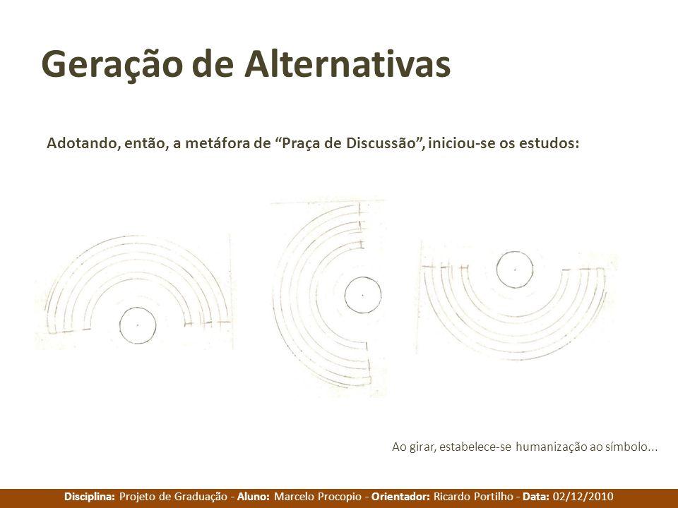 Disciplina: Projeto de Graduação - Aluno: Marcelo Procopio - Orientador: Ricardo Portilho - Data: 02/12/2010 Geração de Alternativas Adotando, então,